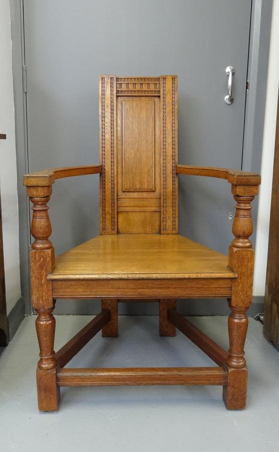 Extremely rare EW Godwin Shakespeare oak armchair