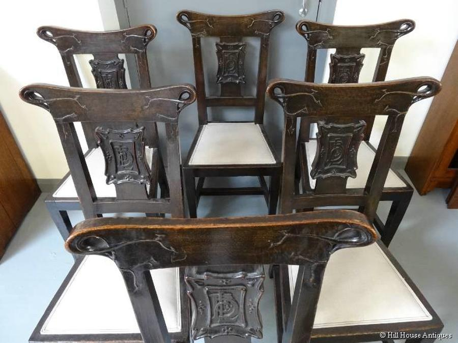 Rare British Linen Bank Glasgow Style Art Nouveau 6 chairs
