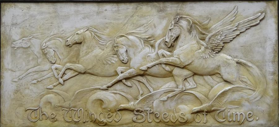 Winged Steeds plaster panel Olive Harbutt