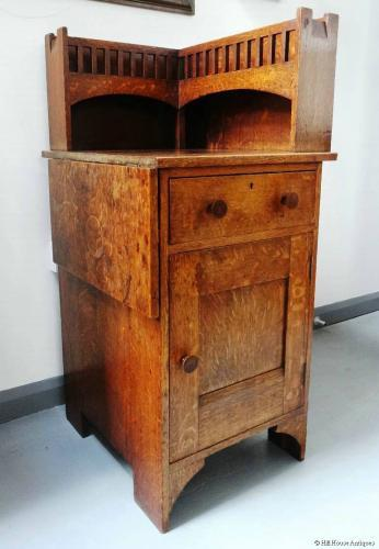 Unusual Arts & Crafts corner cabinet/desk