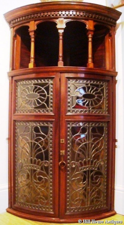Arts & Crafts Rathbone corner display cabinet