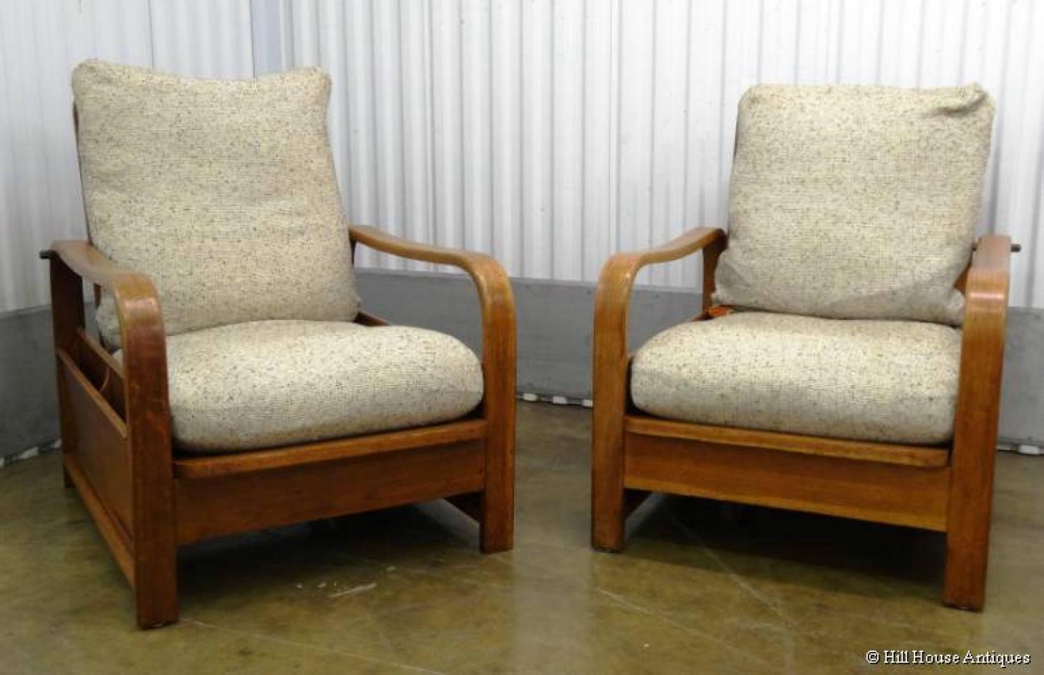 Pair of Heals Modernist magazine book chairs