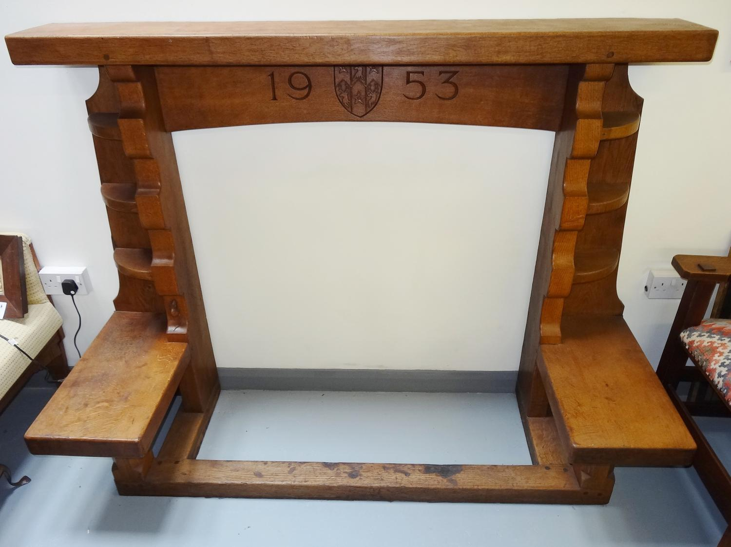 Rare Mouseman 1953 fireplace surround