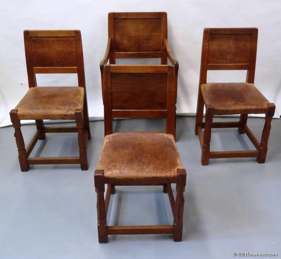 Rare early Mouseman set of dining chairs