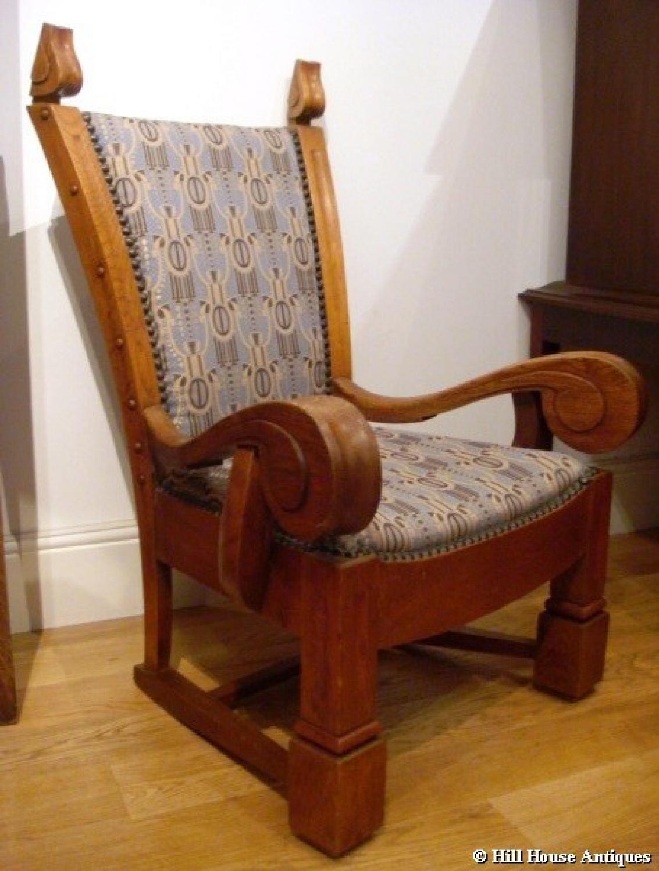 Unusual Art Nouveau low armchair