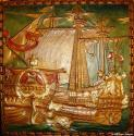 Arts & Crafts 4 panel galleon screen - picture 1