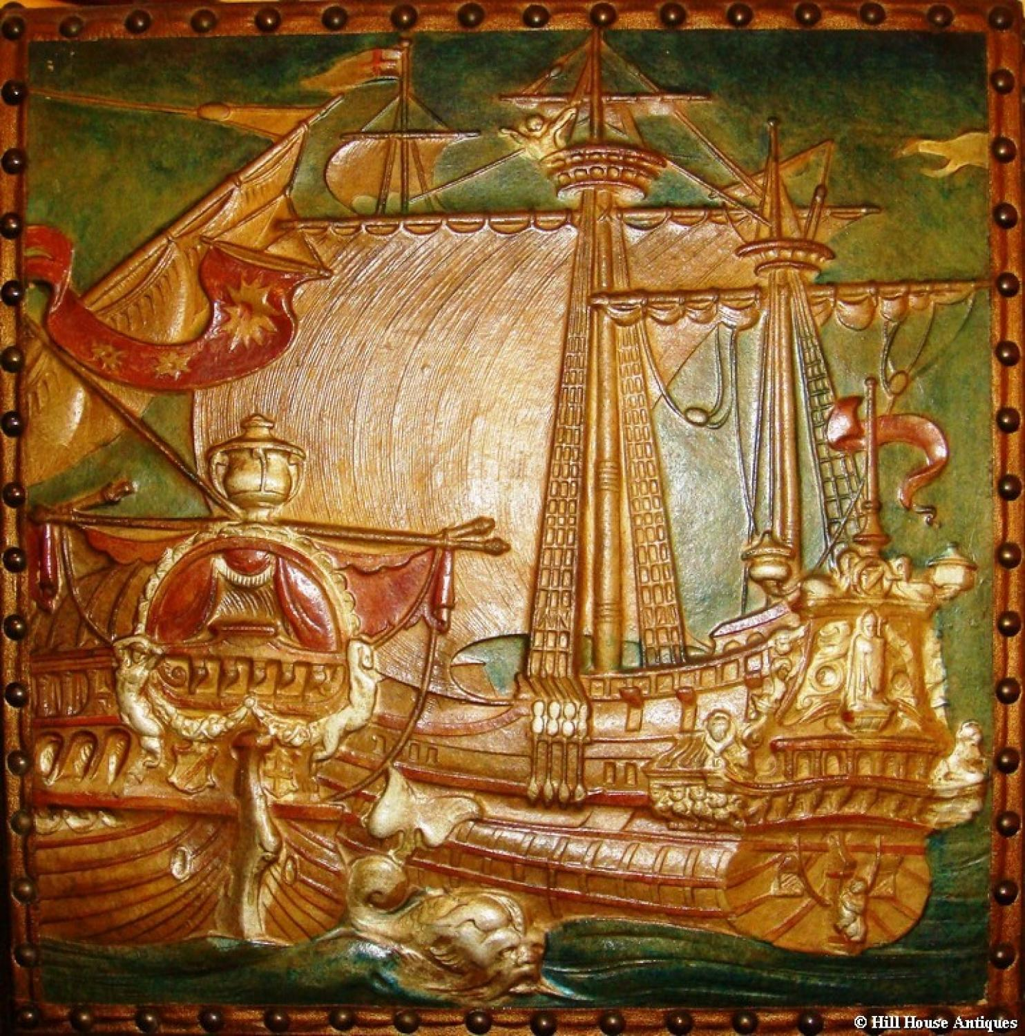 Arts & Crafts 4 panel galleon screen