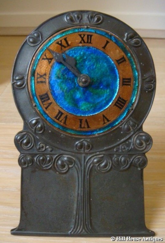 Liberty & Co pewter enamel clock