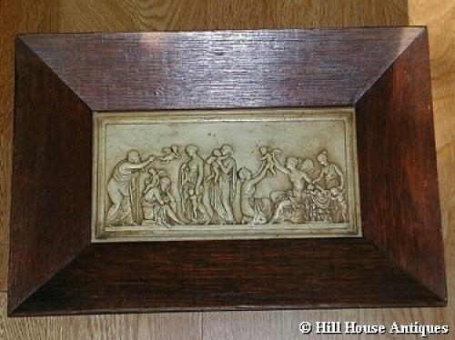 Arts & Crafts framed plaster plaque