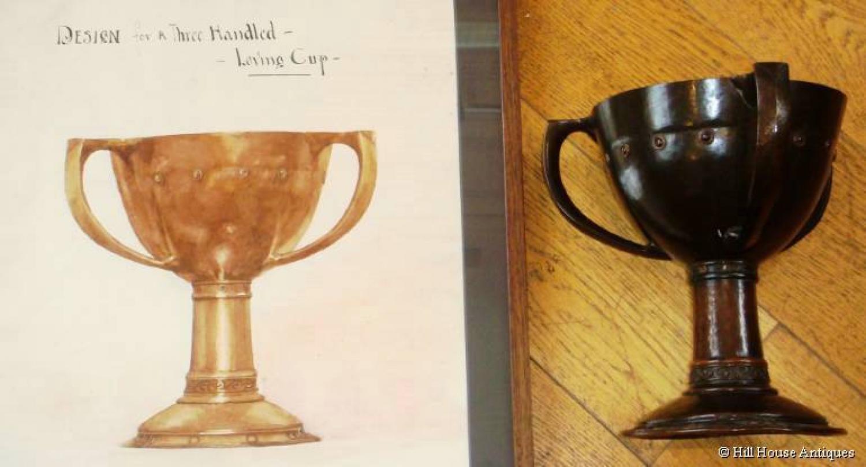 Arts & Crafts bronze loving cup & w/c