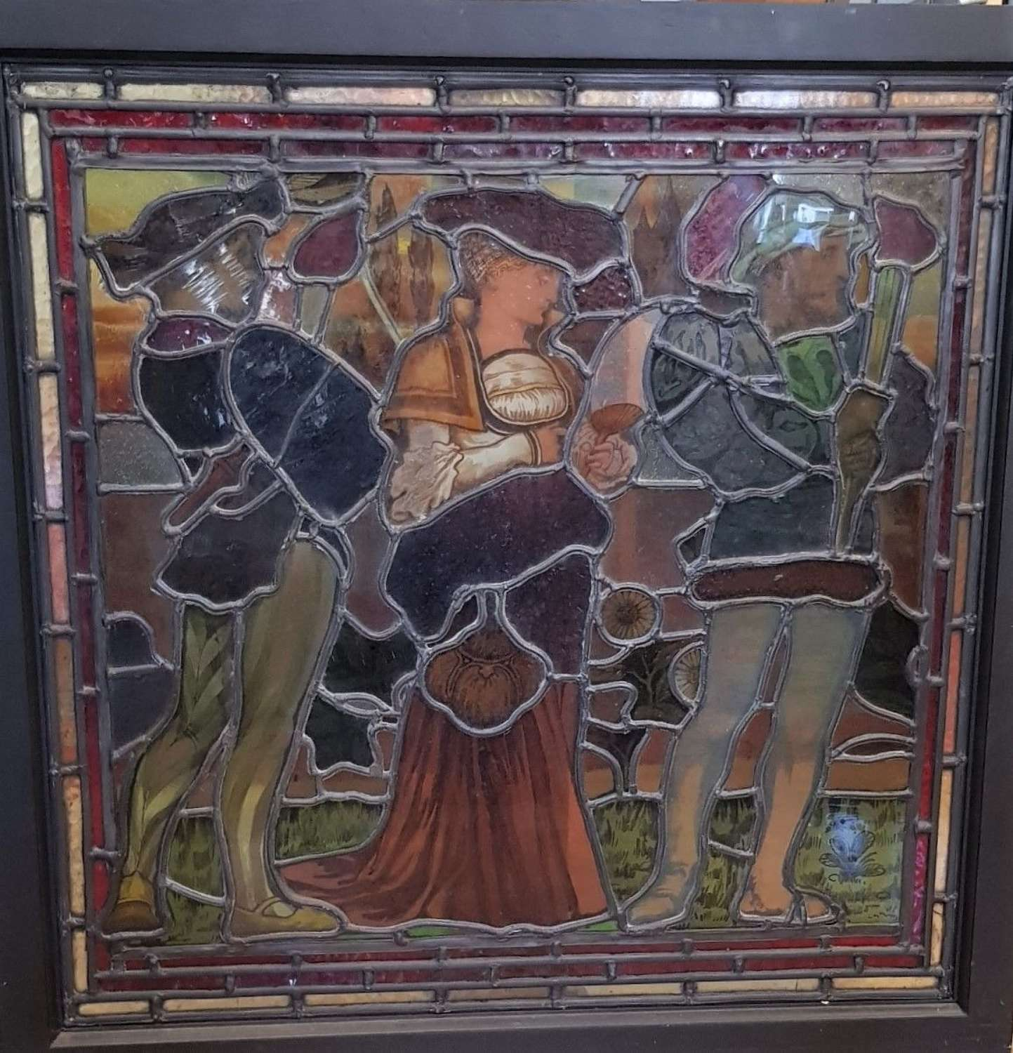 Arts & Crafts stained glass panel