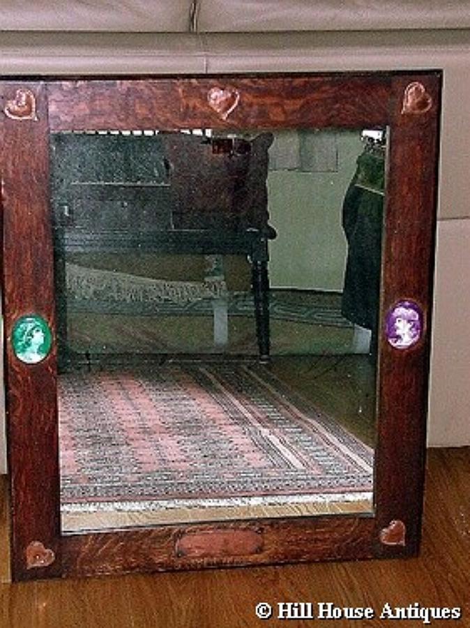 Unusual Art & Crafts oak copper mirror