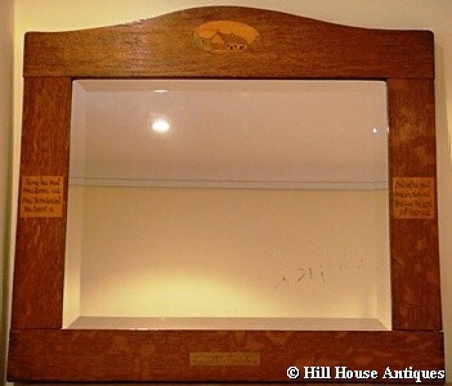 Arts & Crafts inlaid motto mirror