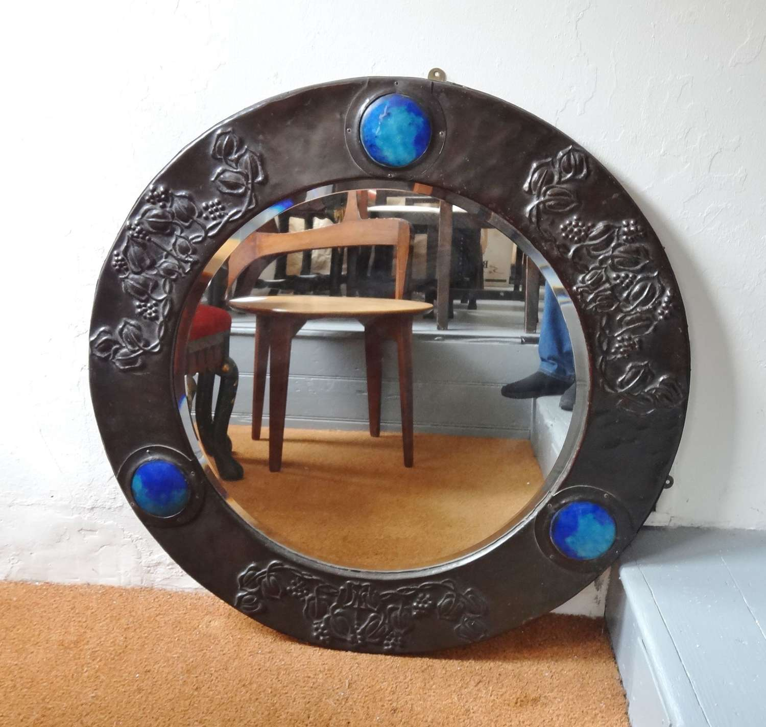 Arts & Crafts large copper Ruskin mirror