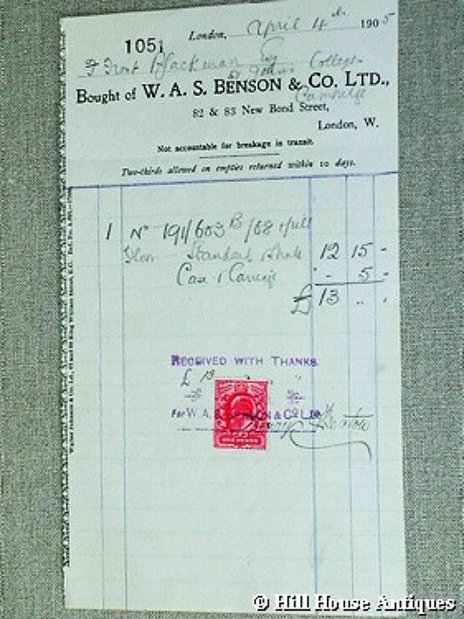 Original WAS Benson bill/receipt