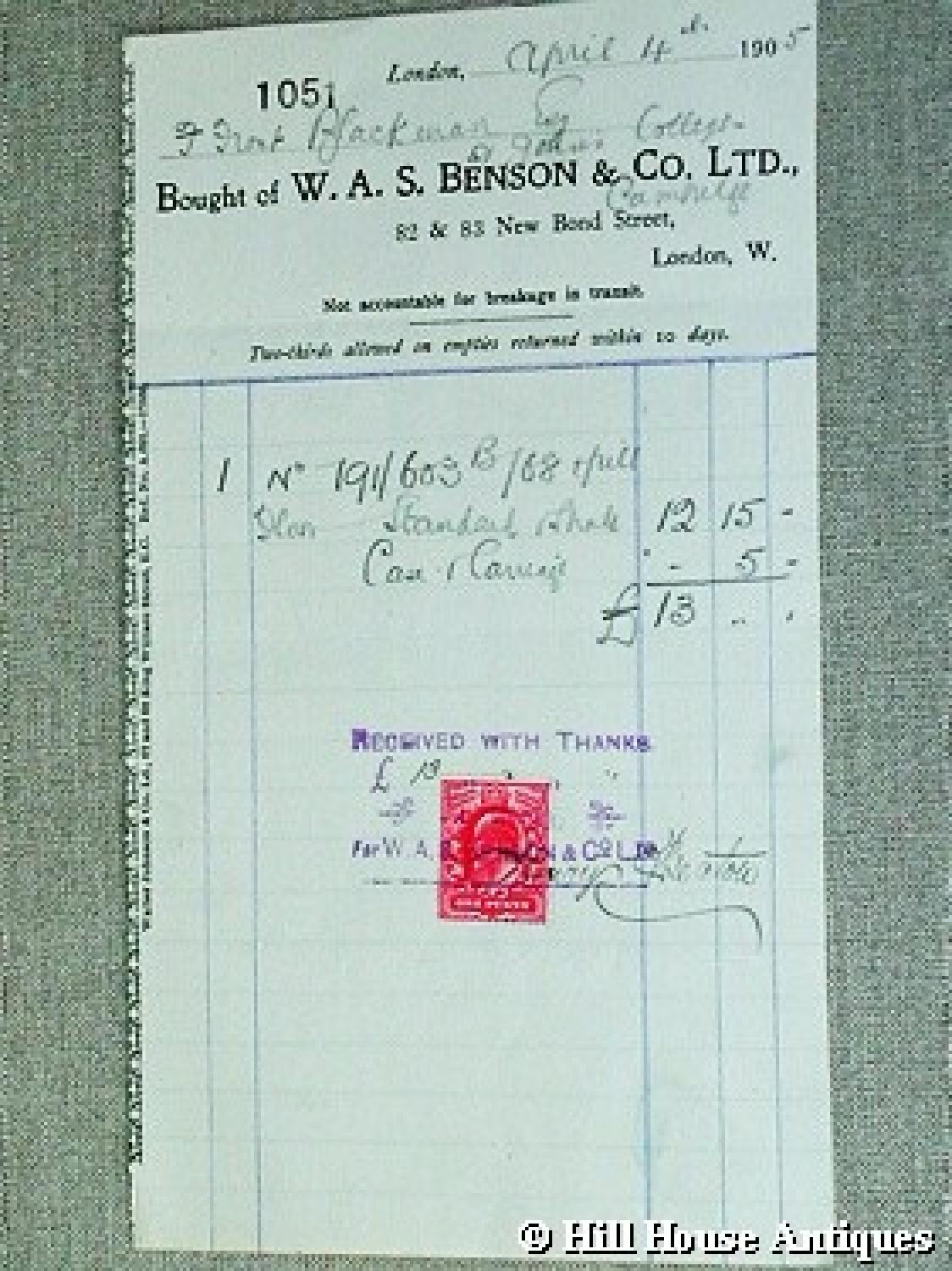 Original WAS Benson bill/receipt
