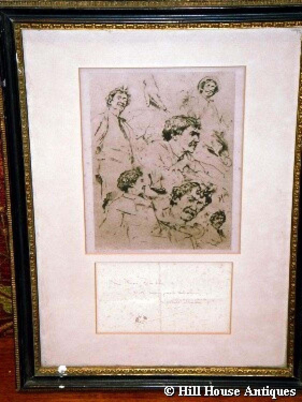 JA McNeil Whistler print autograph note