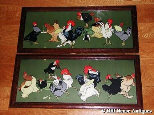 Pair of Cockrel & Hens nursery lithos