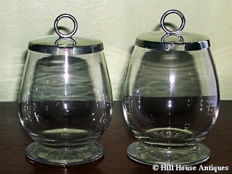 Hukin & Heath silver preserve jars