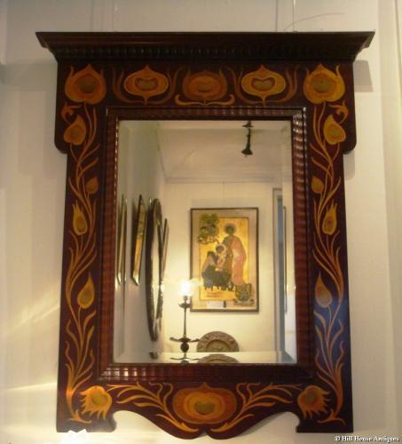 Rare Shapland & Petter inlaid peacock mirror