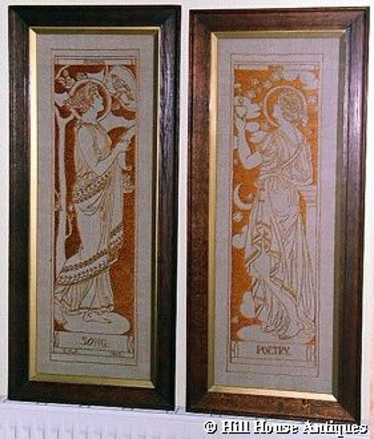 Arts & Crafts needlework panels