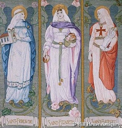 Ann Macbeth style Arts & Crafts triptych