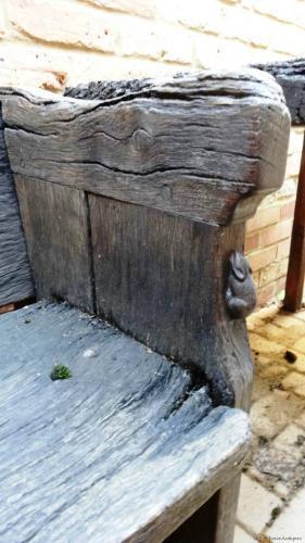 Rare early Mouseman garden table & chair