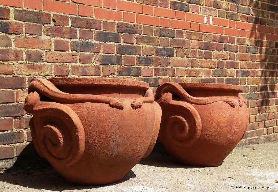 Compton Pottery pair large cobra pots