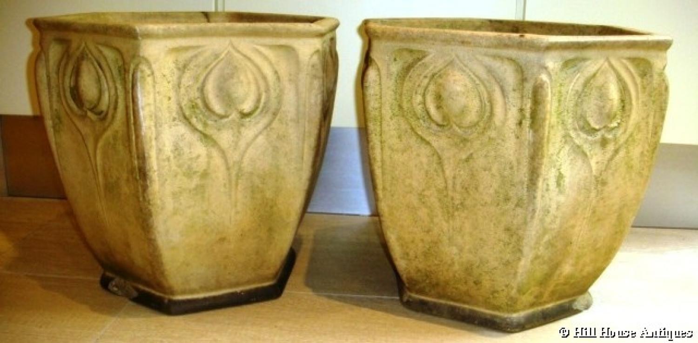 Doulton Art Nouveau stoneware planters