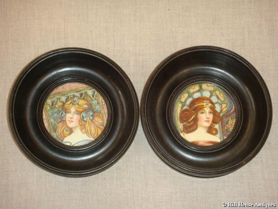 Pre-Raphaelite miniature w/c`s