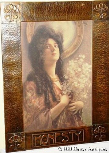 Arts & Crafts copper framed print Honesty