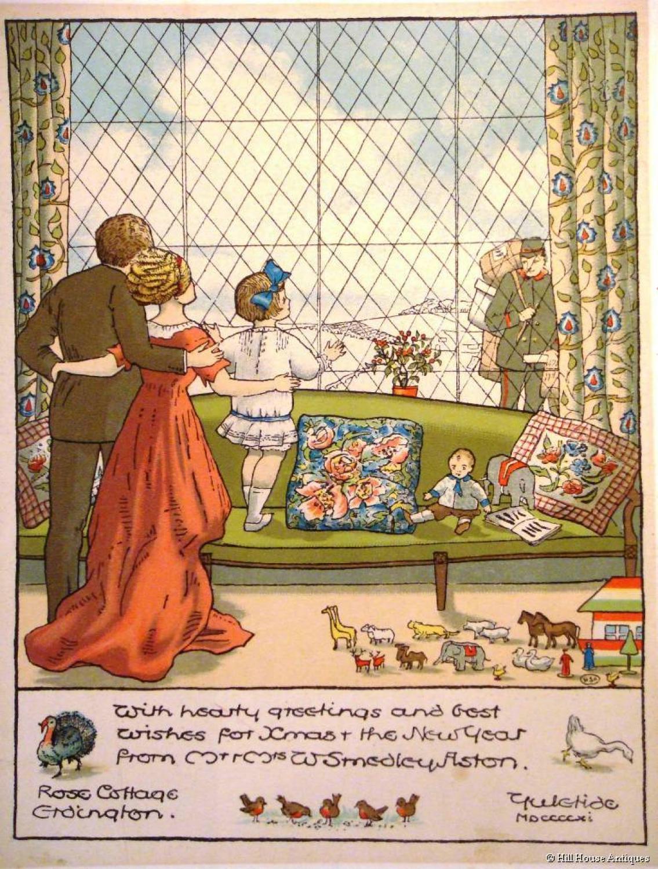 Original Arts & Crafts Smedley-Aston Xmas card design prints