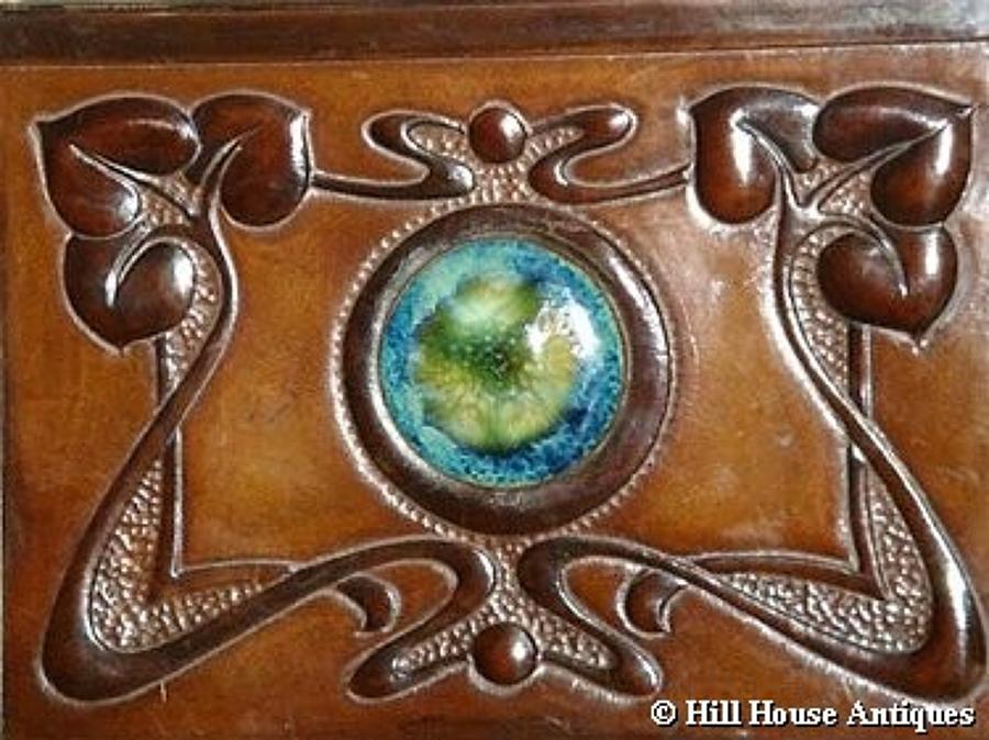 Rare Arts & Crafts leather Ruskin mirror