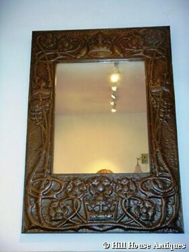 Scottish Arts & Crafts large copper mirror