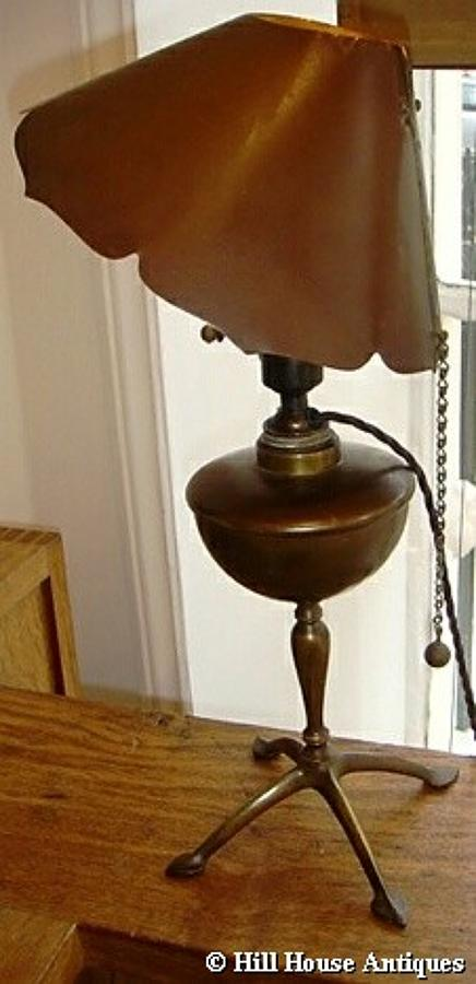 Rare WAS Benson copper shade table lamp
