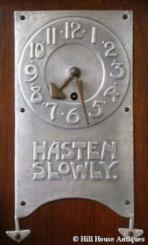 Rare Arts & Crafts motto mantle clock