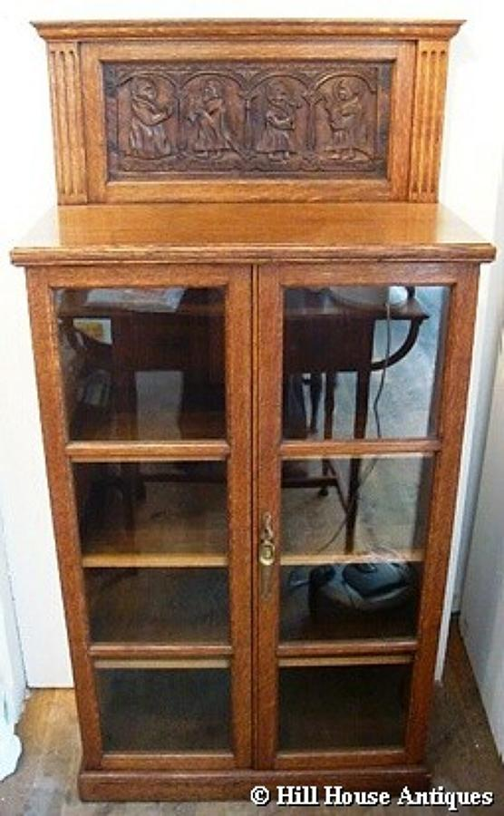 Unusual Arts & Crafts glazed bookcase