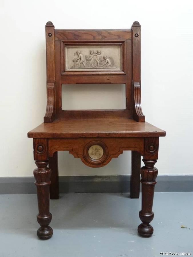 Arts & Crafts Gillows putti hall chair