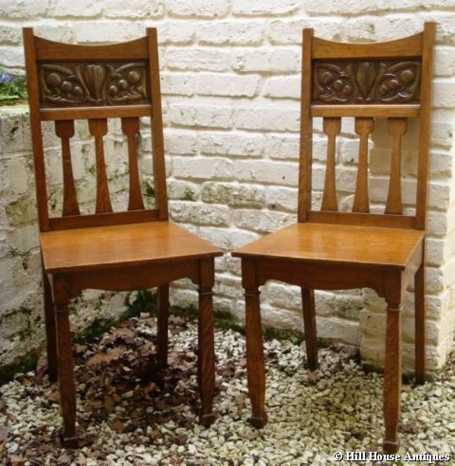 Shapland & Petter oak & copper hall chairs