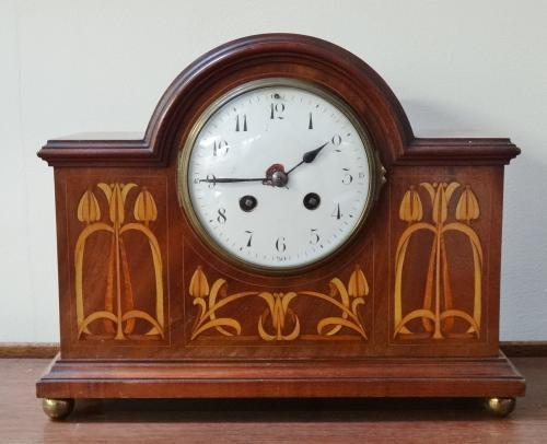 Art Nouveau inlaid mantel clock