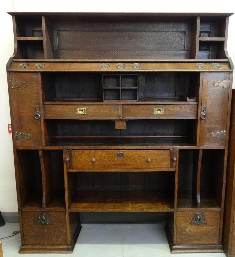 Unusual Arts & Crafts oak bookcase cabinet