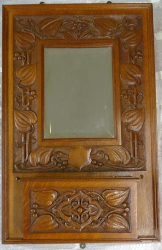 Arts & Crafts Giggleswick School oak hall mirror