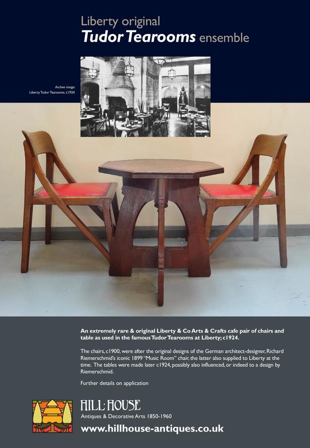 Extremely rare Liberty & Co Cafe chairs/table