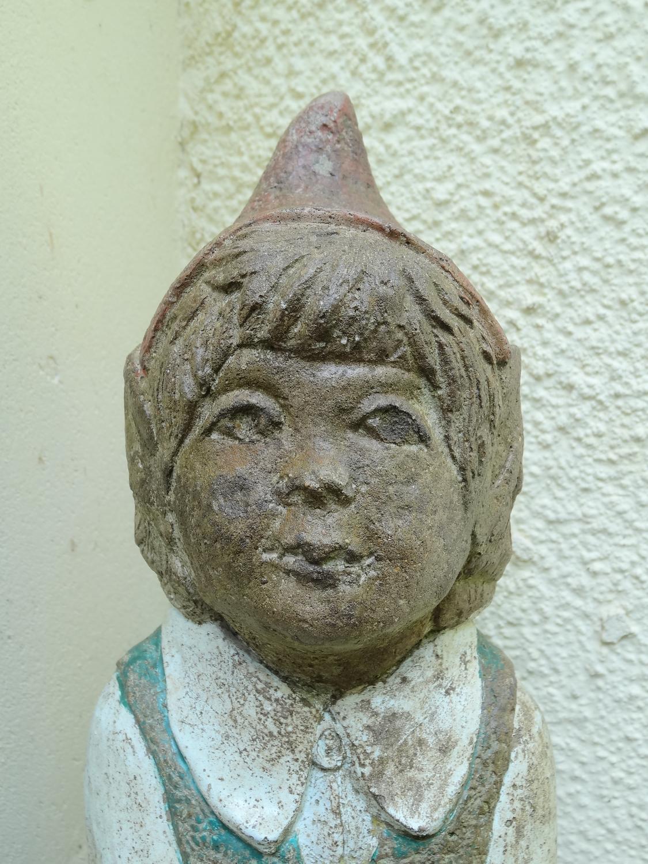 Early 20thC stone garden female elf gnome