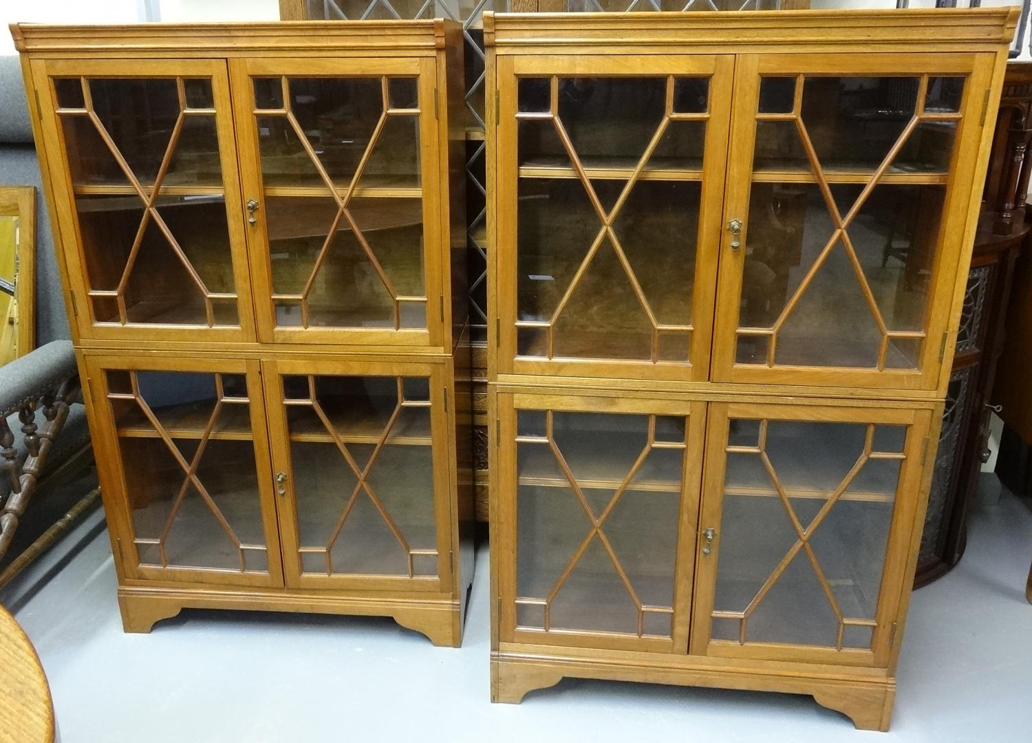 Morris & Co pair of glazed compact bookcases