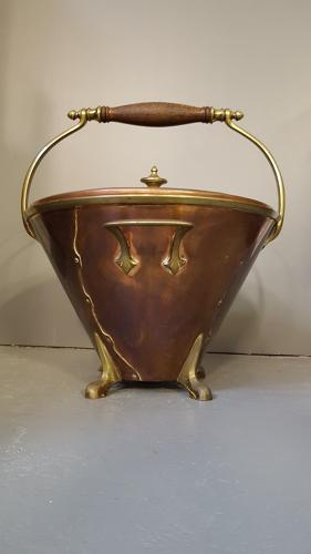 Rare WAS Benson copper & brass scuttle