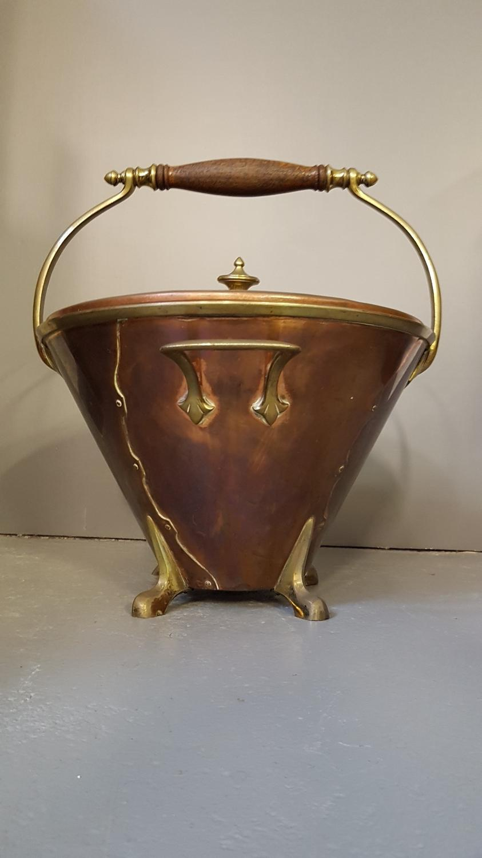 Rare WAS Benson copper & brass scuttle