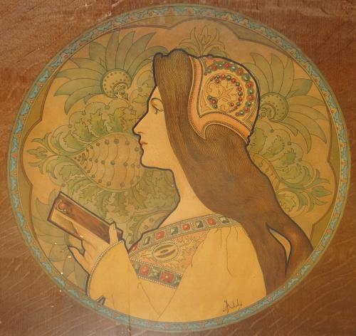 Jane Atche Art Nouveau Mucha style 2 lithos
