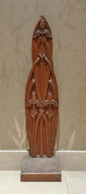 Arts & Crafts carved oak doorstop