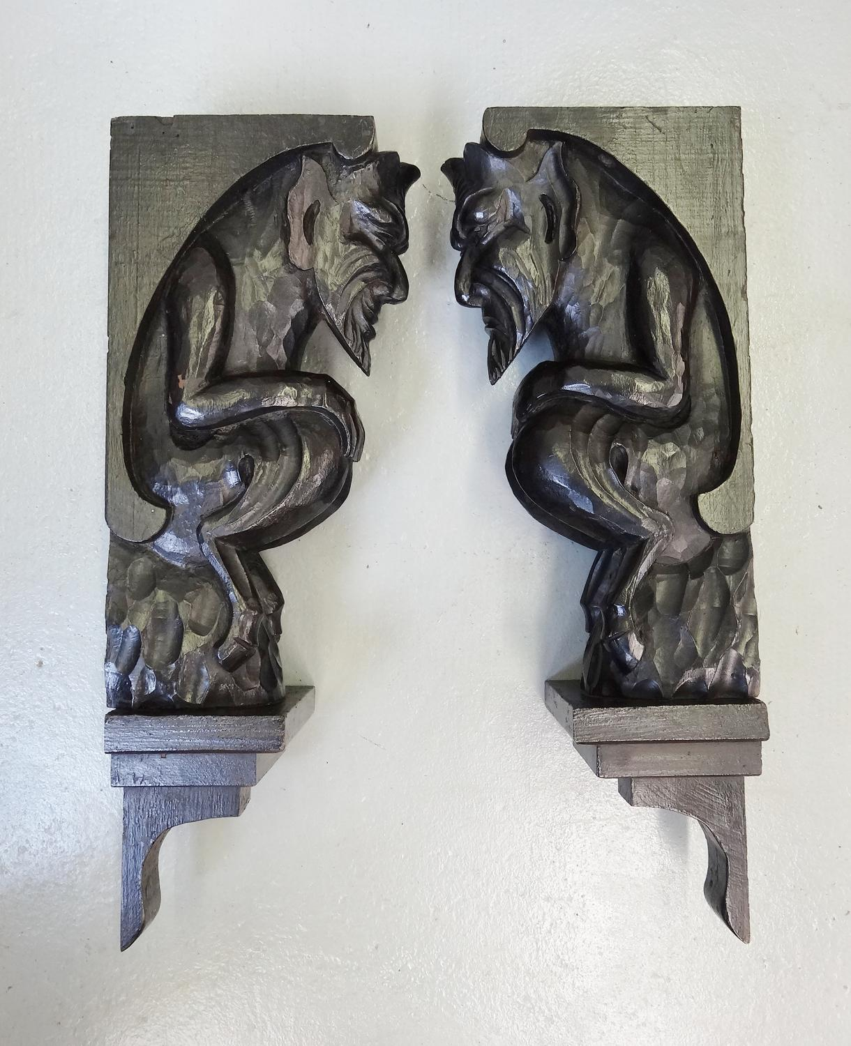 Arts and Crafts Voysey devil style caricature corbels